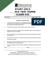 Www.resostart.in Class VII, Seventh Std Sample Question Paper Resonance Eduventures