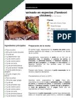 2. Pollo Al Horno Marinado en Especias (Tandoori Chicken)
