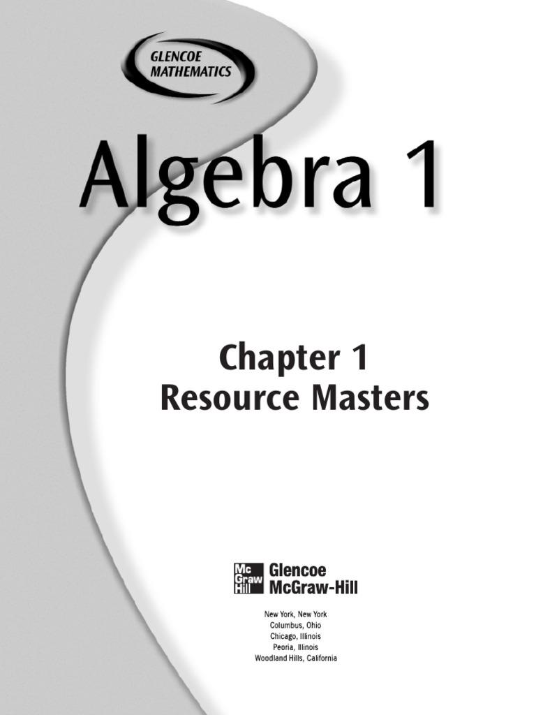 Glenco Algebra 1 Chapter 1 | Educational Assessment | Equations