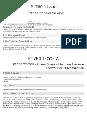 P1760 Nissan | Transmission (Mechanics) | Automatic Transmission