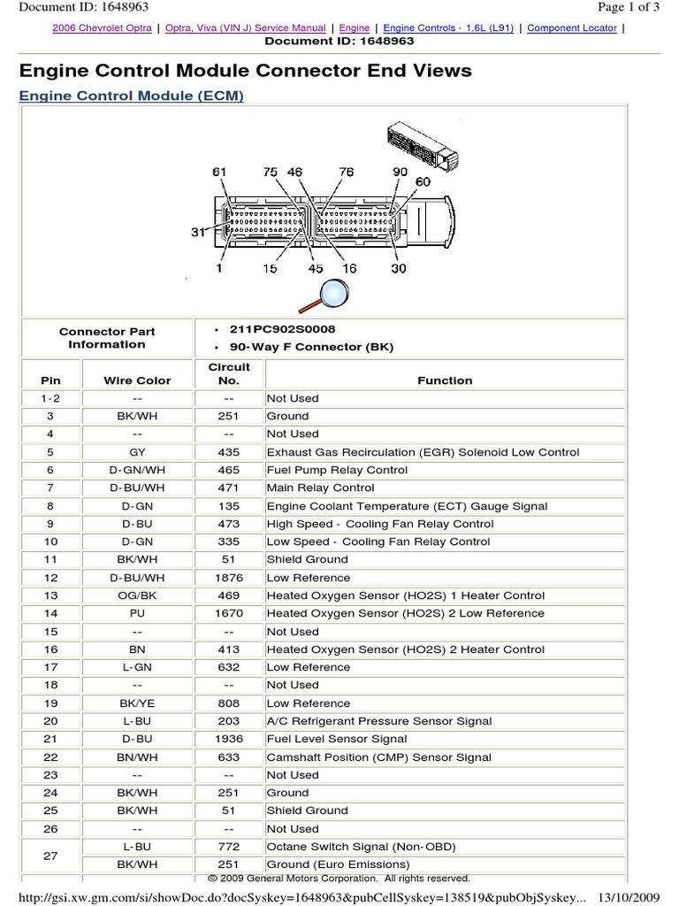 Optra 2006 ECM Connector | Propulsion | Transportation Engineering | Chevrolet Optra 2006 Wiring Diagram |  | Scribd