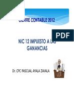 Cierre Contable 2012, NIC 12