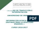 Fichas Destinos Erasmus 2016 2017