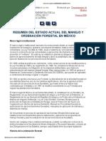 Resumen Del Estado Actual Del Manejo y Ordenación Forestal en México
