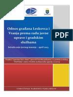Odnos Gradjana Leskovca i Vranja Prema Radu Javne Uprave i Gradskim Sluzbama