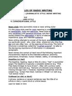 Styles of Radio Writing