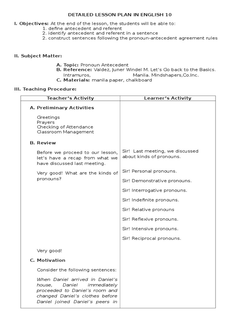 Uncategorized Pronoun Antecedent Agreement Worksheets detailed lesson plan in pronoun antecedent agreement grammatical number pronoun