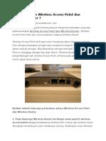 Apa Perbedaan Wireless Access Point Dan Wireless Router