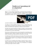 Hábitos de Estudio en El Aprendizaje Del Piano