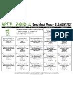 El Breakfast Menu April 10