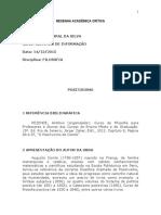 Resenha Academica Critica - Positivismo
