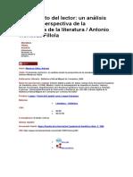El Intertexto Del Lector. Antonio Mendoza