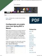 Configurando Um Projeto Java Com Spring MVC e Maven