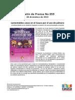 Boletín 059_ Lamentables Casos en El Cauca Por El Uso de Pólvora