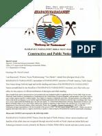 Mashapaug Nahaganset Tribal Trust Charter Constructive and Public Notice