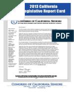 2013 Report Card_CA Legislature_CA Congress of Seniors