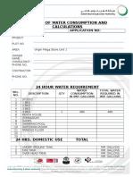 Water Consumption Calculation Sheet - Dewa
