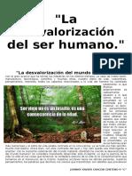 La Desvalorización Del Ser Humano
