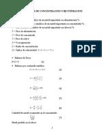 Formulas de Concentracion y Recuperacion