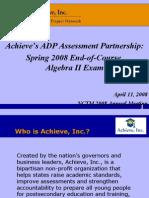 Algebra II - American Diploma Project - Presentation at NCTM 2008