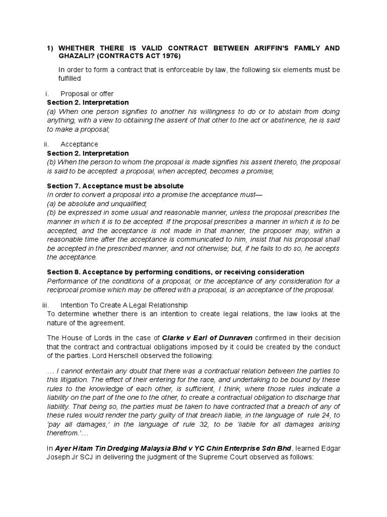 Issue 1 Valid Contract Consideration Misrepresentation