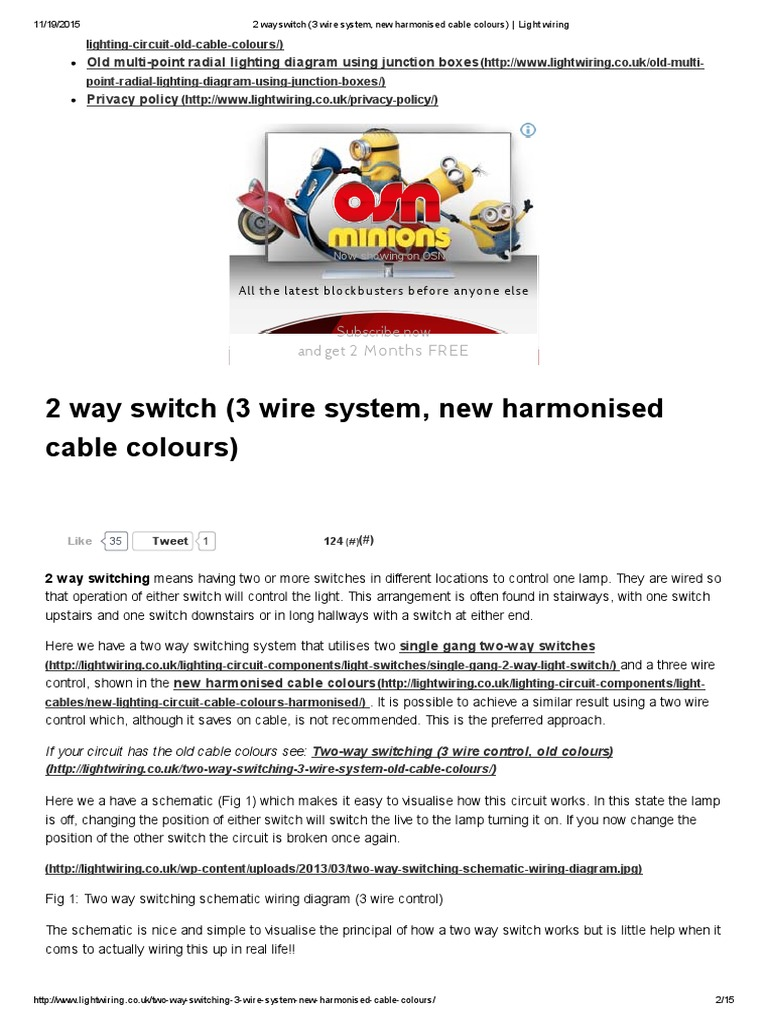 2 Way Switch (3 Wire System, New Harmonised Cable Colours) _ ... Two Way Switch Wiring Diagram Color on on off on rocker switches diagrams, two-way switch installation, spst switch diagrams, two-way switch with plugin, two-way toggle switch wiring, two-way switch schematic, two-way lighting circuit wiring diagram, two-way switch connection, two-way light switch,