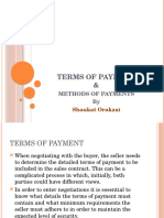 Terms and Methods of Payment