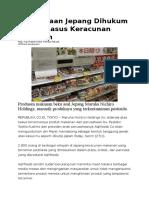 Perusahaan Jepang Dihukum Akibat Kasus Keracunan Makanan