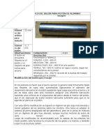 Ficha Técnica Del Bulón Para Pistón de Aluminio
