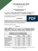 RESOLUCION VALORES 2016-1 PREGRADO POSTGRADO
