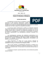 Loi n° 2015-011 portant statut particulier d'Antananarivo