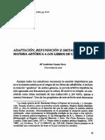 Adaptación, Refundición e Imitación. de La Materia Artúrica a Los Libros de Caballerías