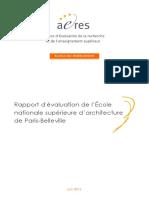 AERES S1 ENSA Paris Belleville 2013