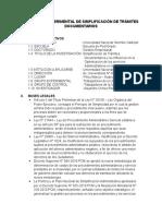 Programa Experimental de Simplificación de Trámites Documentarios