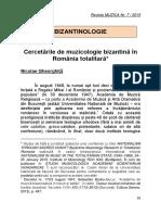 Cercetarile de Muzicologie Bizantina In