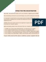 Contractor Pre Registration