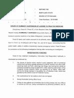 Order of Summary Suspension of License to Practice Medicine