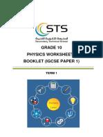 Worksheets Booklet Phys G10