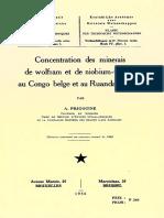 concentration Des Minerais de Wolfram Et de Niobium-tantale Au Congo Belge Et Au Ruanda-Urundi