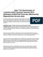 South Asia Marks 11th Anniversary of Tsunami-2004—Tsunami Summit 2015 Hallmarks KAKHTAH Post-doc Multiversity Repositories Across Asia