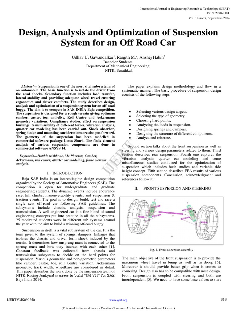 V3I9-IJERTV3IS090250 pdf | Suspension (Vehicle) | Steering
