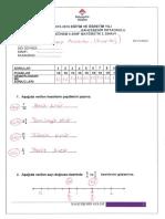 6.Sınıf Matematik 1.Dönem 3.Yazılı Cevap Anahtarı Puantaj