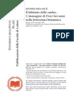 ESTHER MENASCE'-l'Immagine Di Don Giovanni Nella Letteratura Britannica
