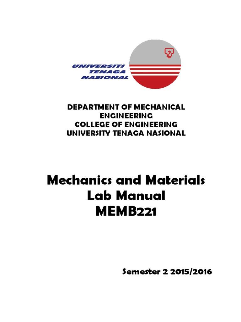 Memb221 Lab Manual Sem 2 2015 2016 - Updated 19 Oct 2015 | Buckling |  Hardness