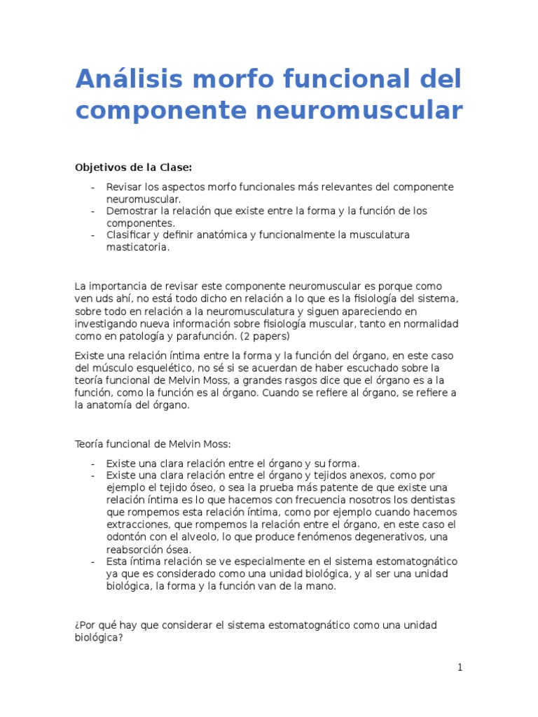 Análisis morfo funcional del componente neuromuscular