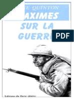 Quinton René - Maximes Sur La Guerre