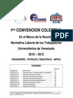 1era. Convención Colectiva 2010 – 2012 / FENASINPRES, FETRAUVE, FENASTRAUV