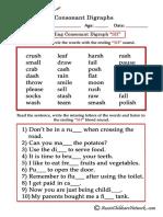 Consonant Digraphs Worksheets Ending Sh
