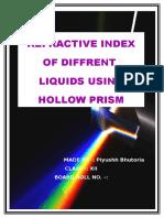 Refractive Index of Different Liquids Using Hollow Prism