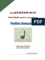 Matemáticas 6º. Vacaciones (SOLUCIONARIO)